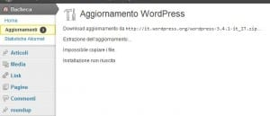 errore wordpress impossibile copiare count not copy